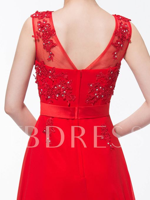 A-Line Jewel Beading Appliques Ankle-Length Evening Dress