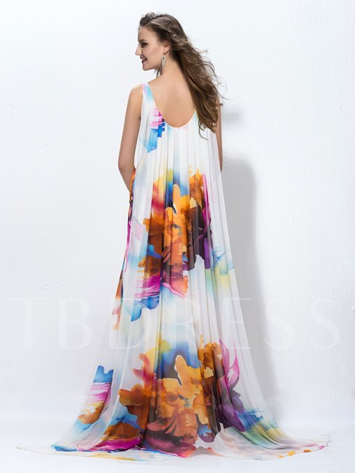 A-line Floor-length V-Neck Pattern Evening Dress