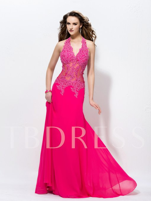 A-Line Halter Backless Appliques Floor Length Evening Dress