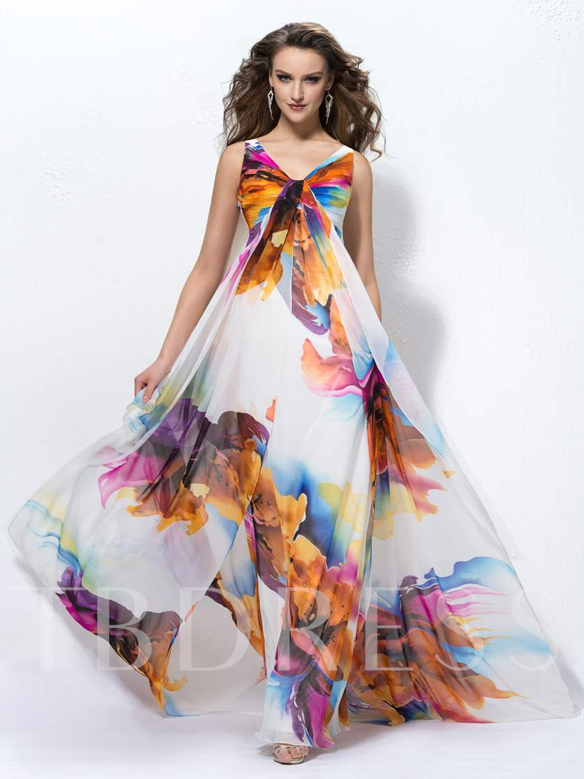 A-line Floor-length V-Neck Pattern Evening Dress - Tbdress.com