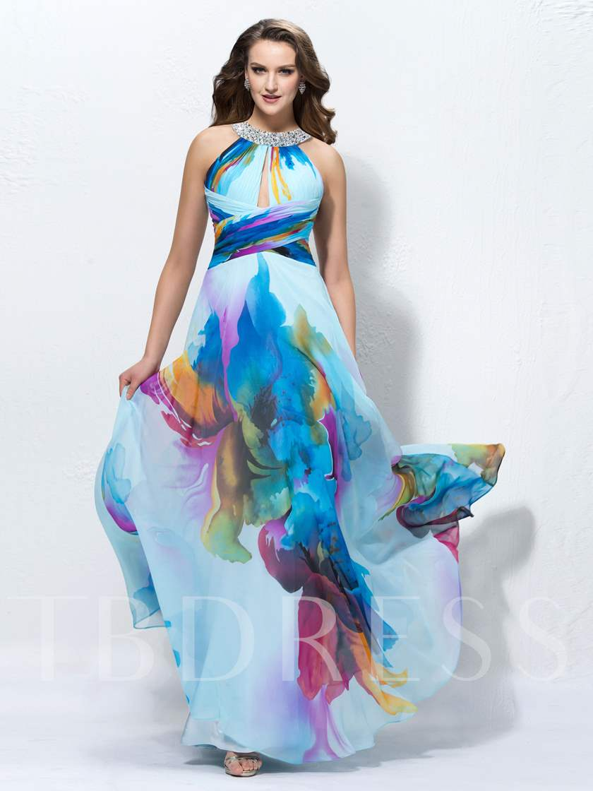A-line Floor-length Jewel Sequins Prom Dress