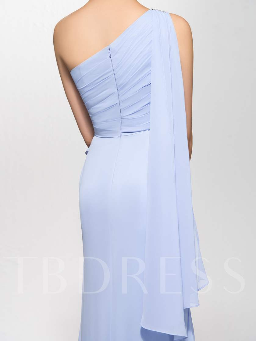 Sheath One-Shoulder Watteau Sequins Zipper-Up Evening Dress