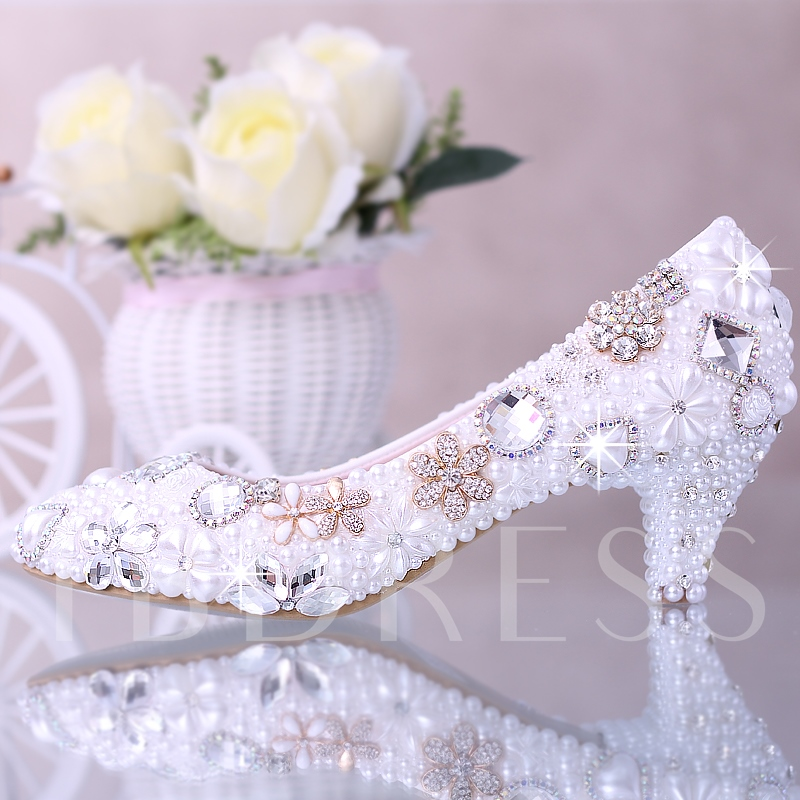 White Pearl Rhinestone Flowers Beak Closed Toe Mid Heel Wedding Shoes