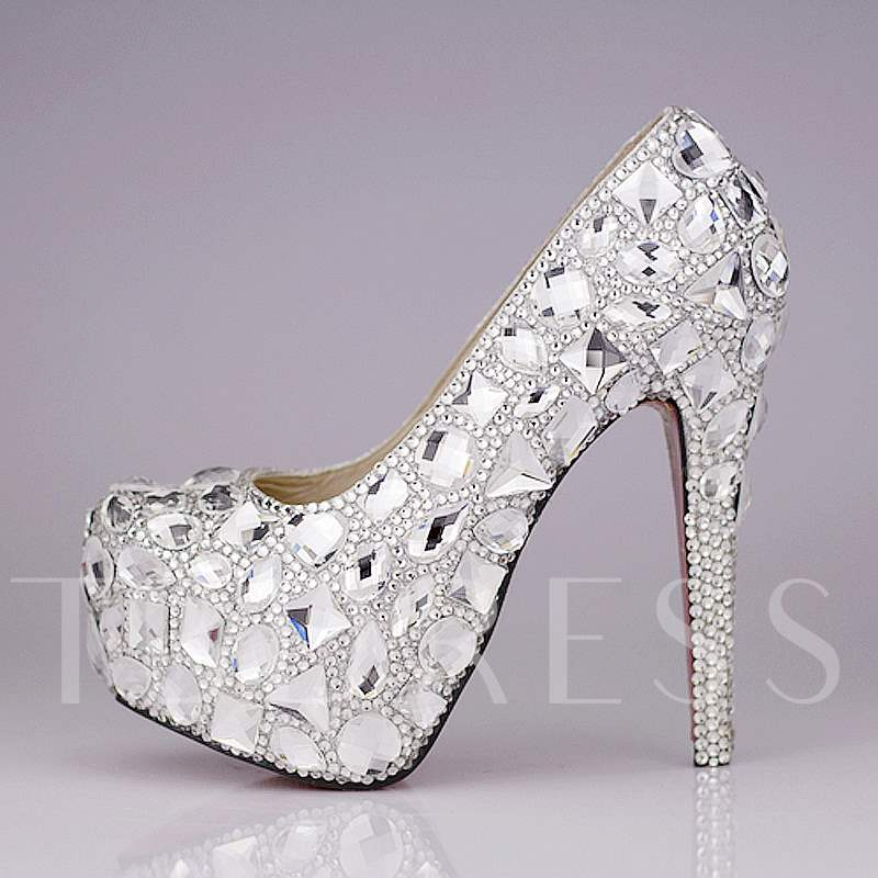 Closed Toe Stiletto Heel Rhinestone Women's Wedding Shoes