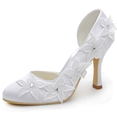 Lace Flowers Rhinetone Closed Toe Stiletto Heel Wedding Shoes