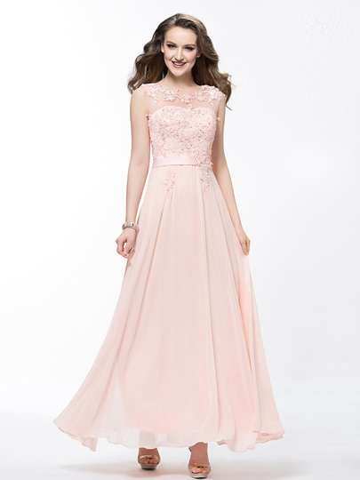 Scoop Applique Gauze Lace Beading Ankle Length Prom Dress