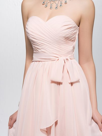 Sweetheart Ruched Sashes Homecoming Dress