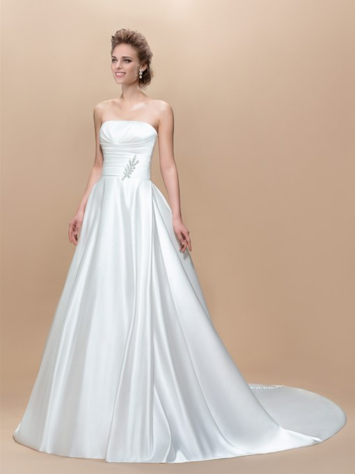 Strapless Button Sequins Zipper-Up Court Train Wedding Dress