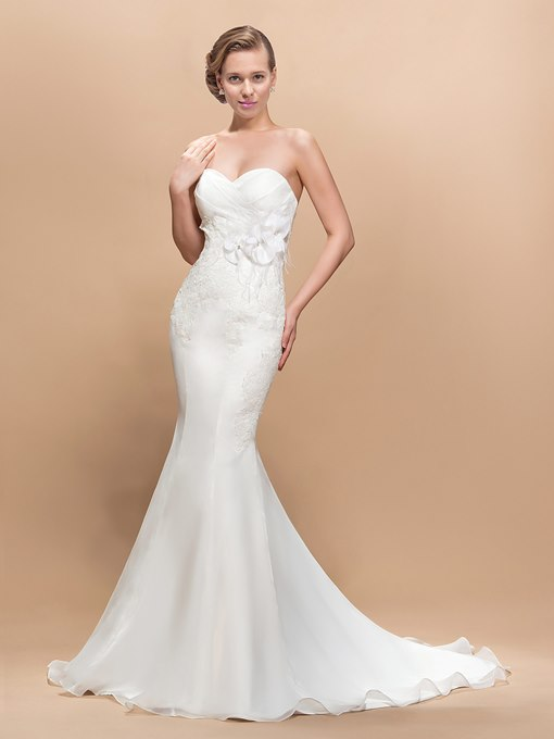 Court Train Flowers Sweetheart Trumpet Wedding Dress