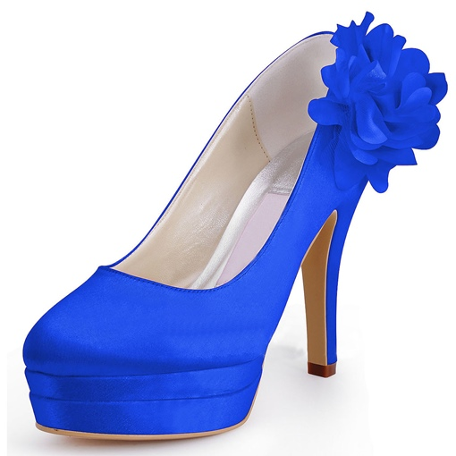 Flowers Satin Stiletto Heel Wedding Shoes