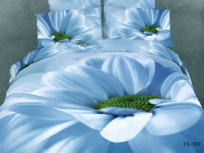 3D Blooming Blue Flower Printed Cotton 4-Piece Bedding Sets/Duvet Cover