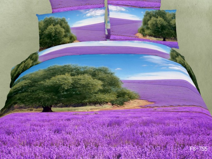 Green Tree and Lavender Fields Print 3D Bedding Sets /Duvet Covers