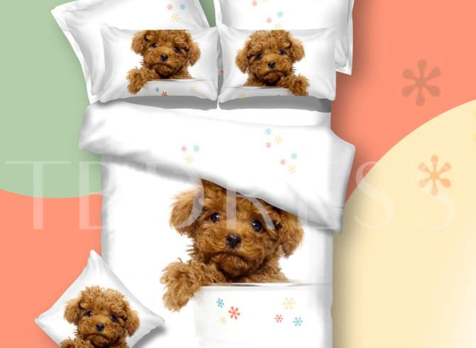 Teddy Dog Printed Cotton 4-Piece White 3D Bedding Sets/Duvet Covers
