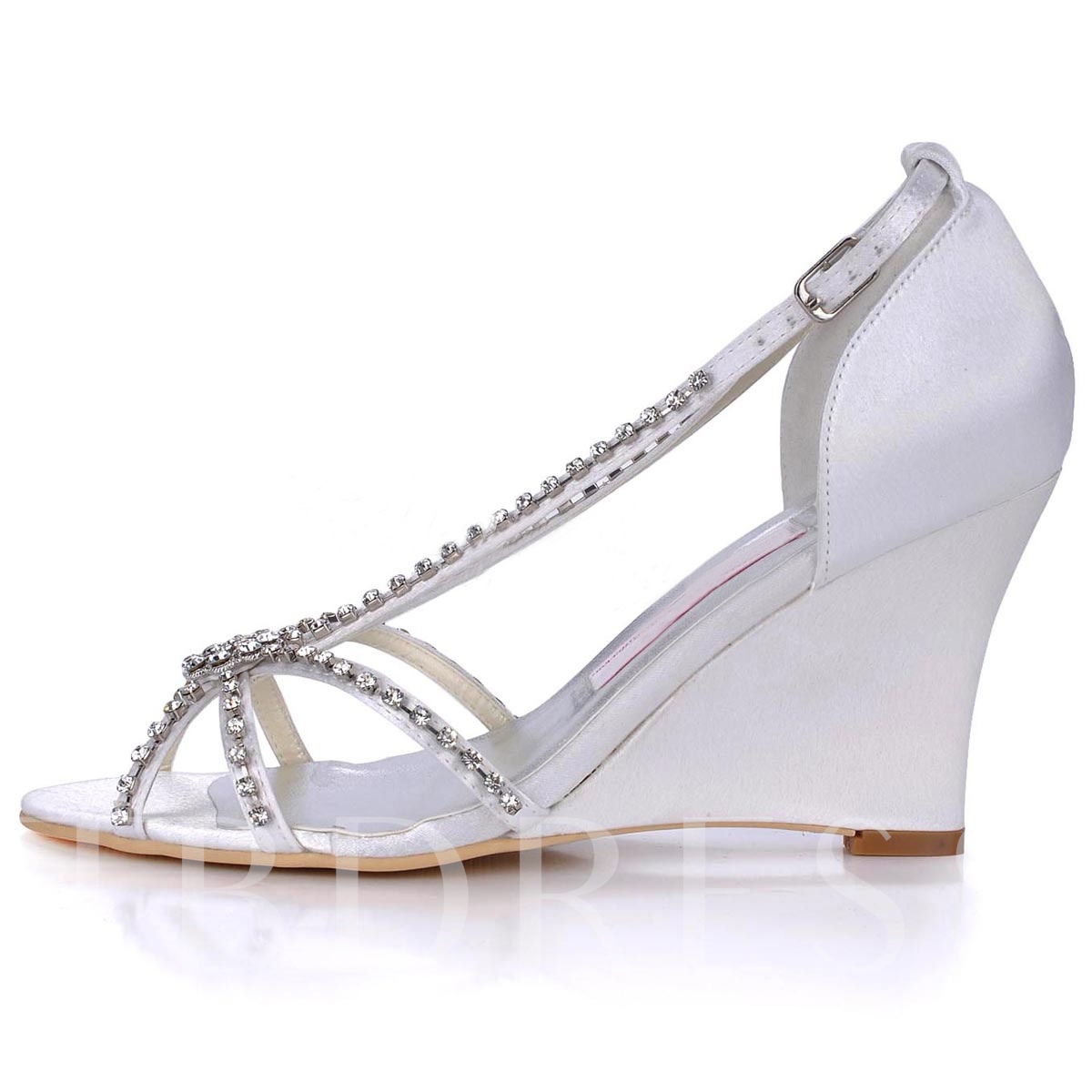 Rhinestone Satin Peep Toe Wedge Heel Wedding Shoes