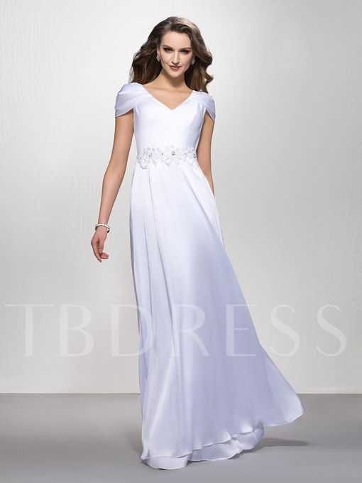 A-Line V-Neck Beading Floor-Length Cap Sleeves Evening Dress