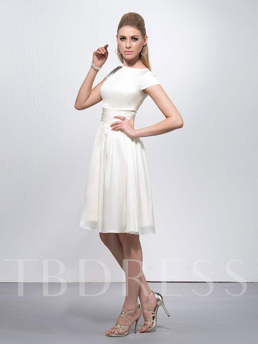 Pure Cap Sleeves Knee Length Homecoming Dress