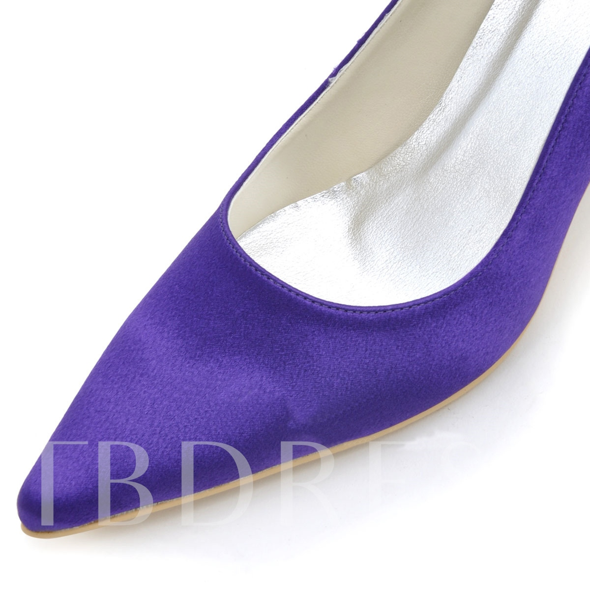 Pure Color Satin Beak Stiletto Heel Wedding Shoes