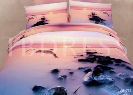 Sunset Dolphin and Reef Print 3D Bedding Sets/Duvet Covers