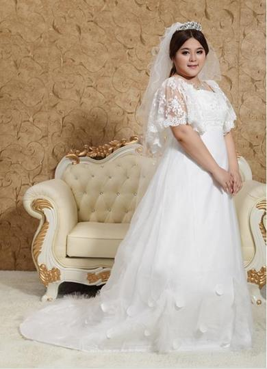 Square Neck Lace-up Lace Plus Size Wedding Dress