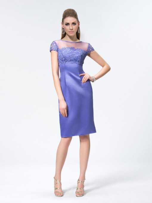 Sheath/column Knee-length Bateau Short Sleeves Formal Dress