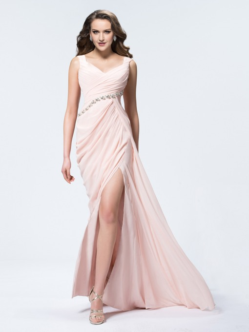 Sheath Straps Pleats Rhinestone Split-Front Evening Dress