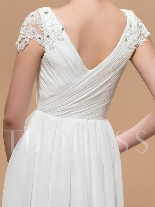 A-Line V-Neck Appliques Fold Split- Front Prom Dress