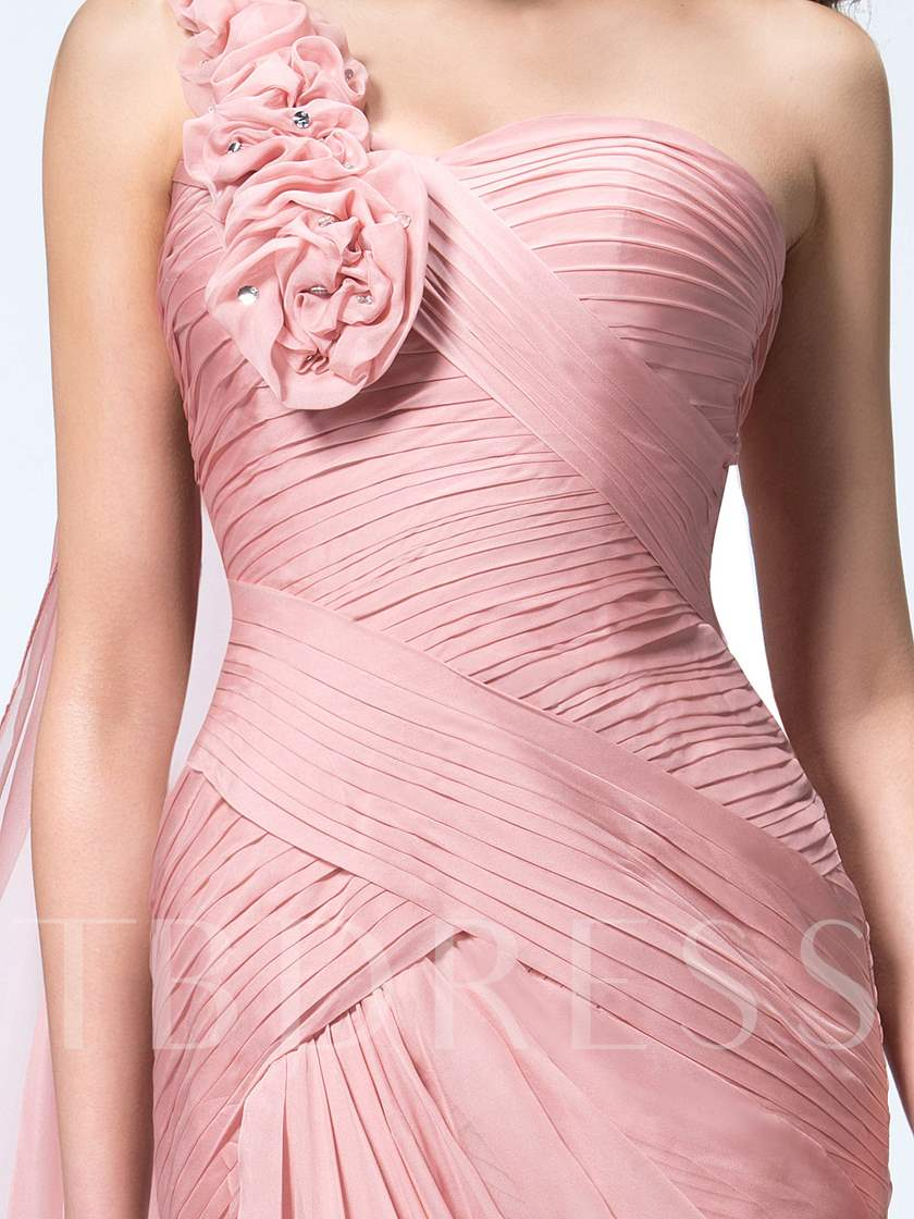 Floral One Shoulder Sheath Evening Dress