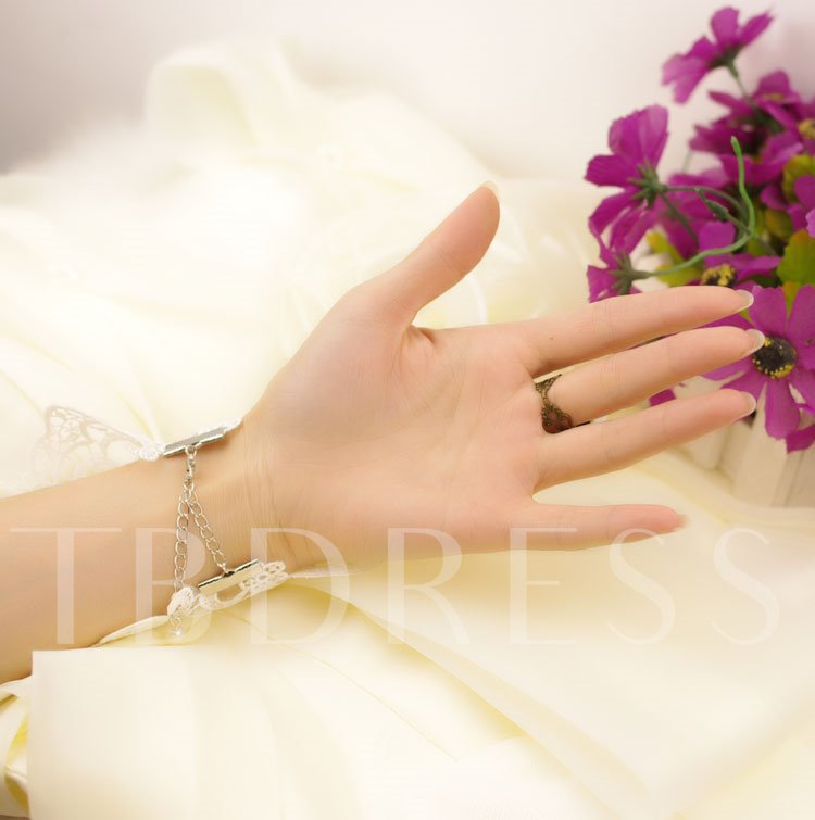 New Arriver Lace Pearl Flower Wedding Glove