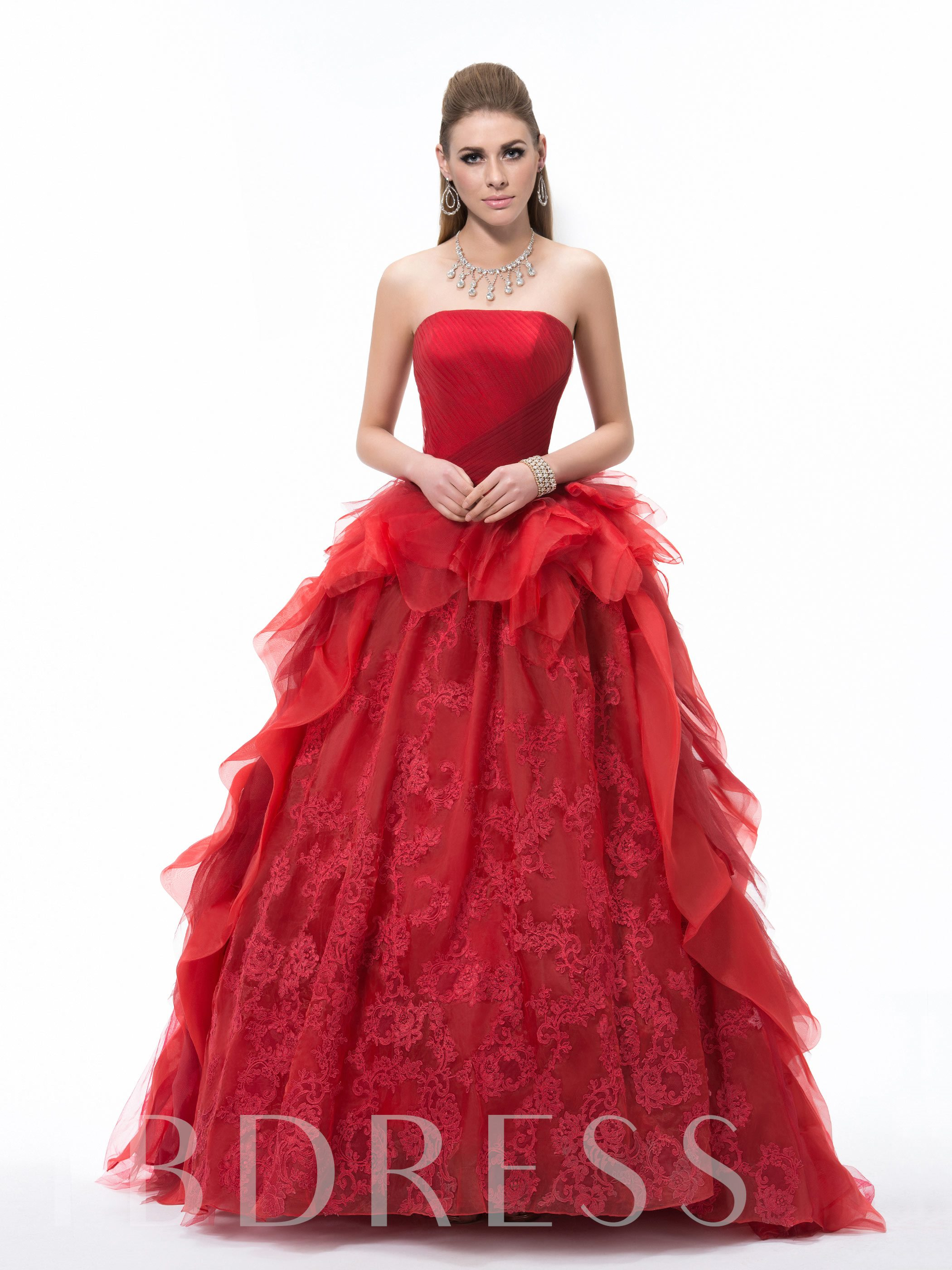 Image of Strapless Lace Ruched Floor-Length Quineanera Dress