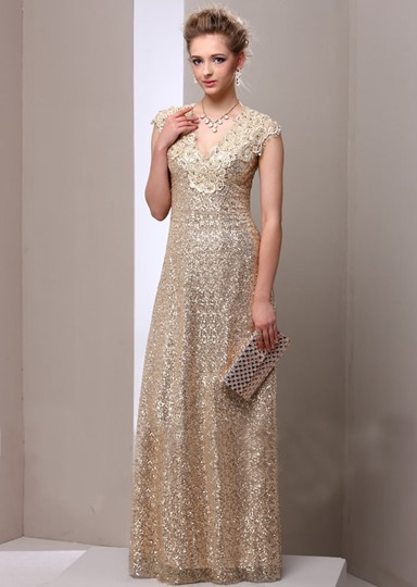 A-Line V-Neck Lace Sequins Floor Length Mother Dress
