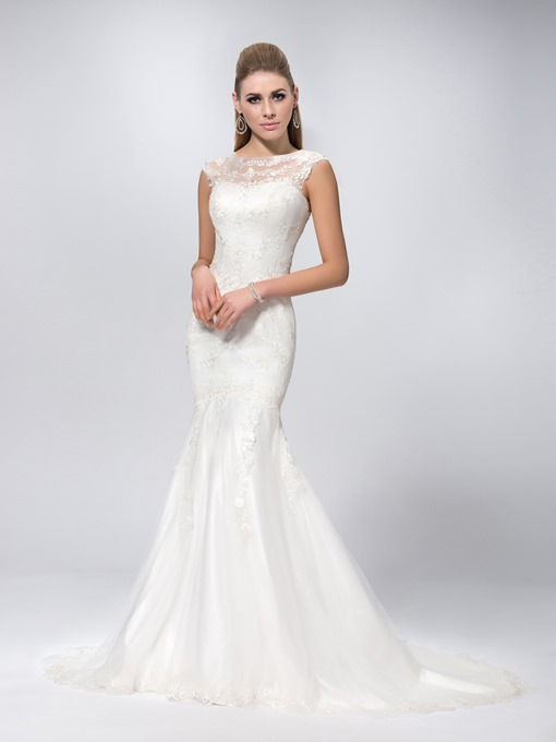 Scoop Neck Chapel Train Mermaid Lace Wedding Dress