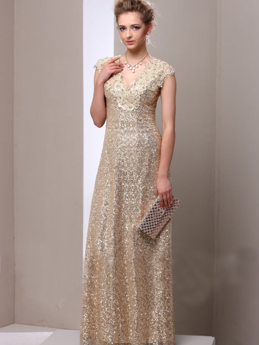 Cap Sleeve Lace Sequins Mother of the Bride Dress