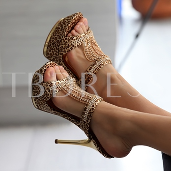 Rhinestone Chain Point Heel Low Heel Sandals