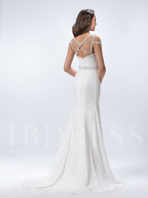 Beaded Criss-Cross Court Train Trumpet Prom / Evening Dress