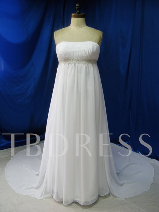 Strapless Empire Waist Plus Size Wedding Dress