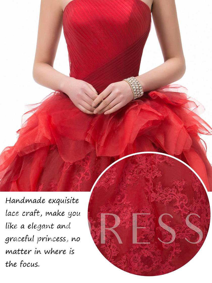 Strapless Lace Ruched Floor-Length Quineanera Dress