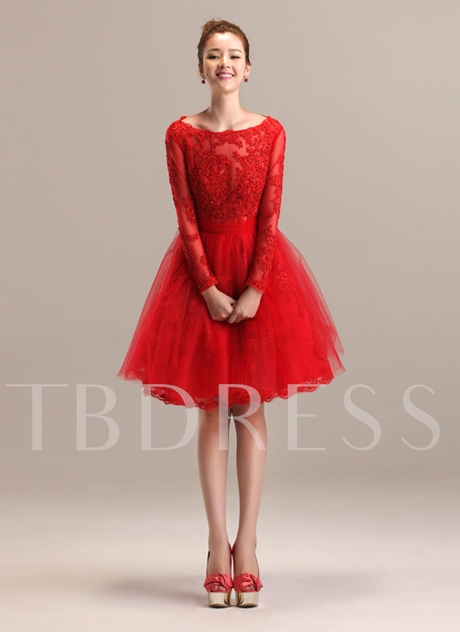 A-Line Appliques Long Sleeves Bateau Neckline Porm/Homecoming Dress
