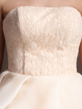 Strapless Lace Flowers Knee-Length Cocktail Dress