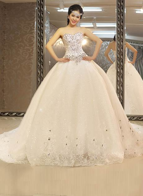 Beading Chapel Train Ball Gown Luxurious Wedding Dress