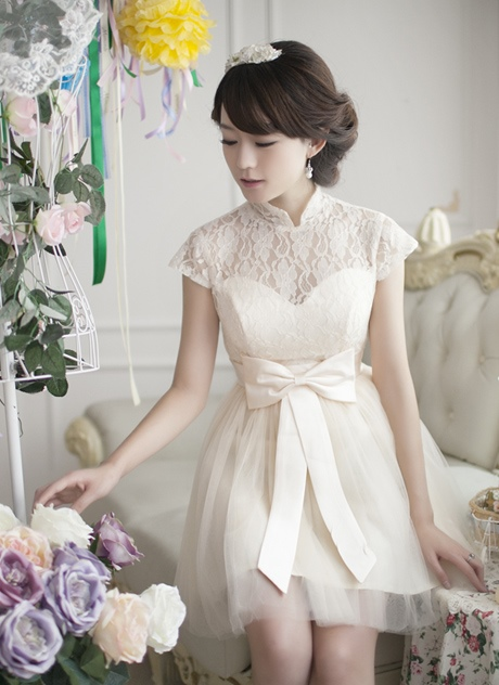 High Neck Short Sleeves Bowknot Short Cocktail Dress