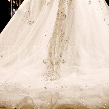 Ball Gown Sequins Beading Cathedral Train Wedding Dress