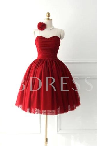 A-Line Sweetheart Bowknot Lace-up Short-Length Homecoming Dress
