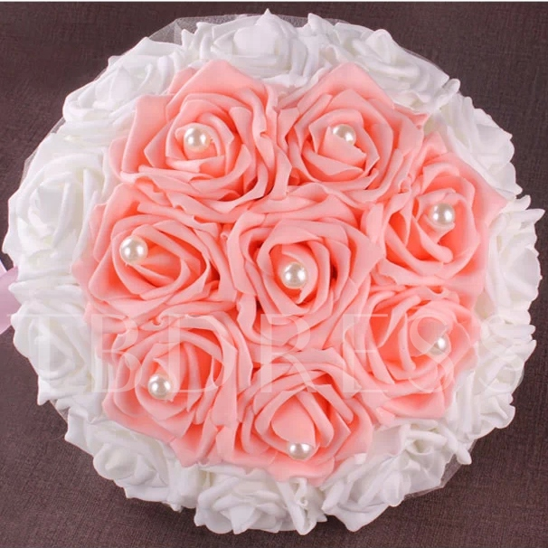Cloths WhiteAnd Pink Rose Pearl Wedding Bouquet