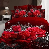 Red Rose and Baby Breath Printed Cotton 4-Piece 3D Bedding Sets/Duvet Covers