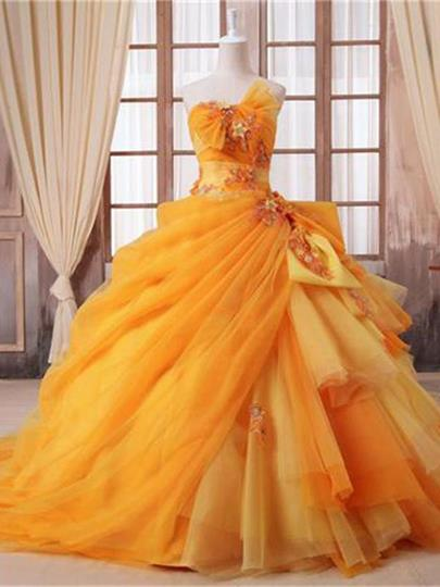 Ball Gown Strapless Court Train Zipper-Up Quinceanera Dress