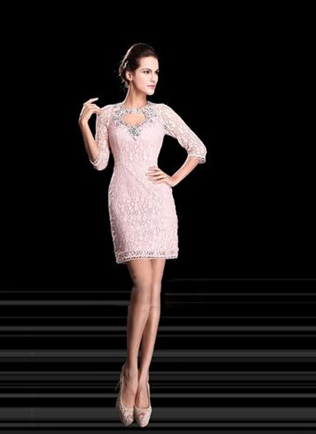 Sheath Lace Rhinestone Half Sleeves Cocktail Dress