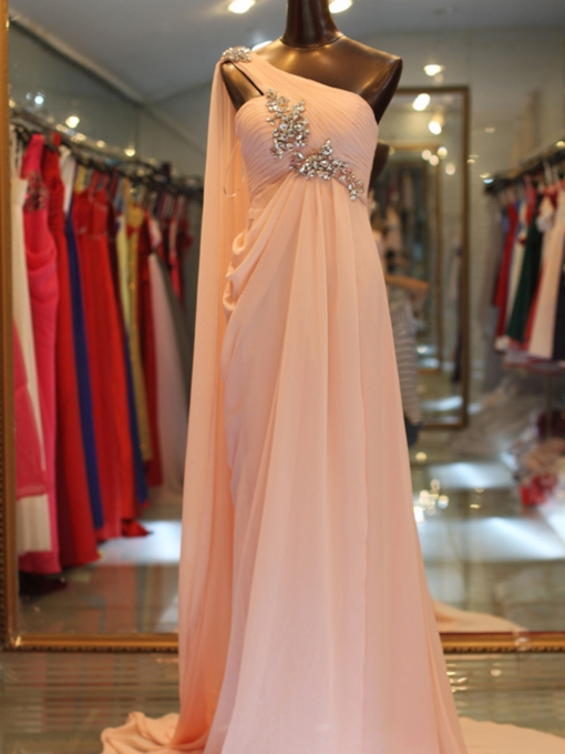 One Shoulder Draped Beading Evening Dress