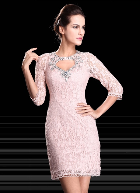 Sheath Rhinestone Half Sleeves Lace Cocktail Dress