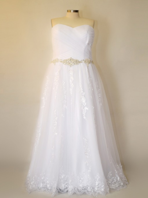 A-Line Beading Sweetheart Plus Size Wedding Dress