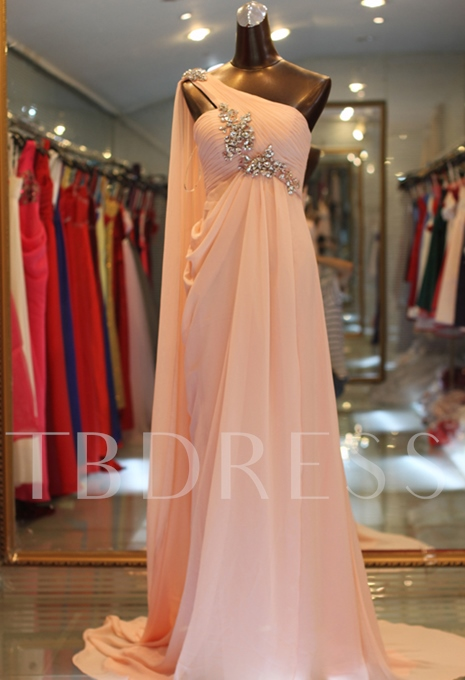 A-Line One-Shoulder Floor-Length Evening Dress